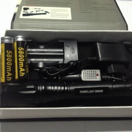 Lanterna  LED CREE XML T6 28000w + INCARCATOR cu CABLU + 5 Faze + MEGA ZOOM + 2 Acumulatori 18650 5800mAh