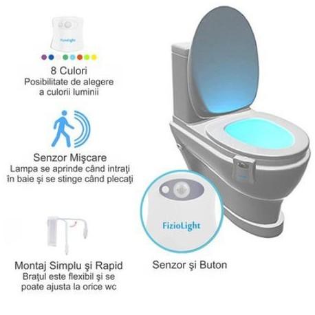 Lampi Led Luminare vas WC cu senzor de miscare Multicolora